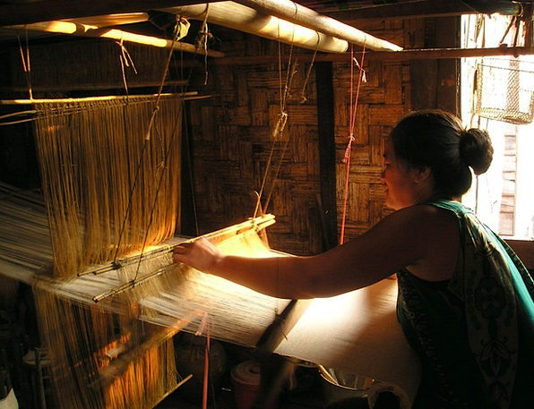 Laos Craft Appear Industry Weave Pile Loom Hand La