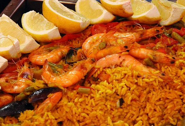 Paella Drink Food Scampi Rice Frisch Lemons Duds F