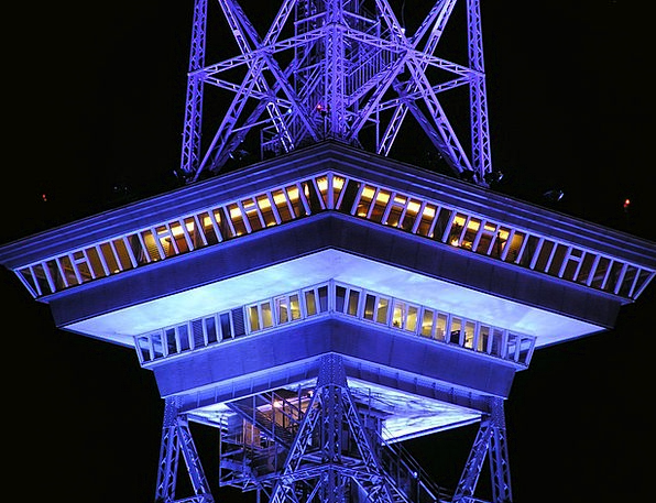 Radio Tower Buildings Architecture Night Nightly B