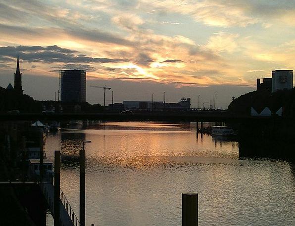 Bremen Vacation Travel Sunset Sundown Weser Bridge
