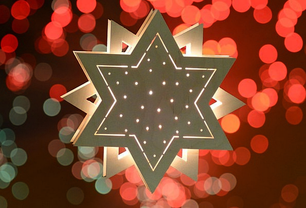 Star Interstellar Illuminated Floodlit Wood Star C