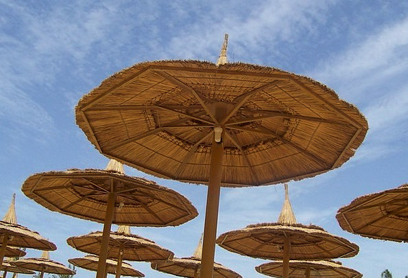 Parasols Sunshades Blue Summer Straw-hat Sky Relax