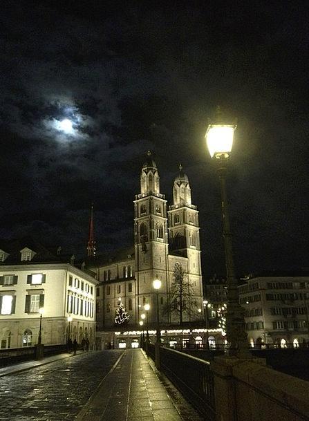 Zurich Night Nightly Grossmünster Church Ecclesias