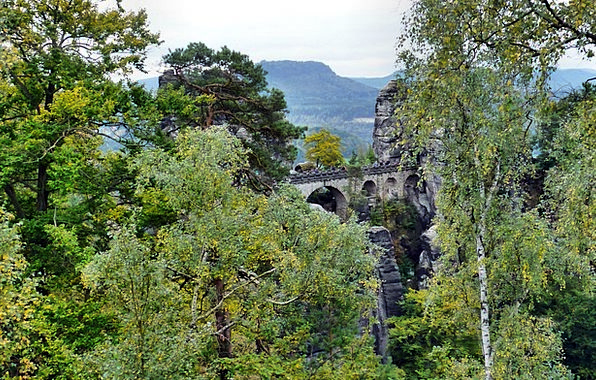 Bastei Bridge Landscapes Nature Landscape Scenery