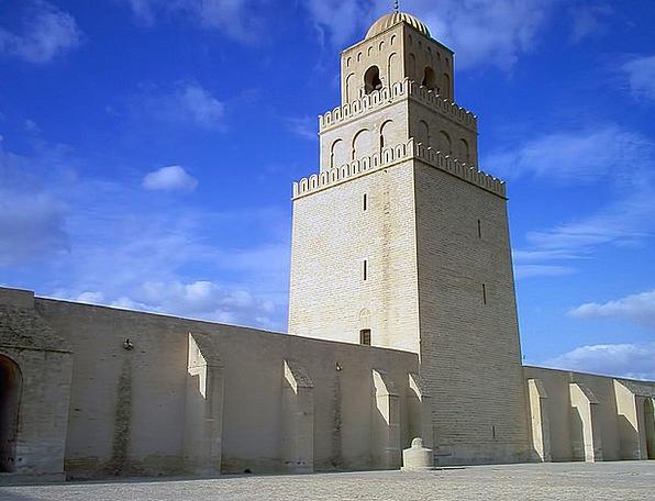 Mosque Big Tower Barbican Large Kairouan Tunisia T
