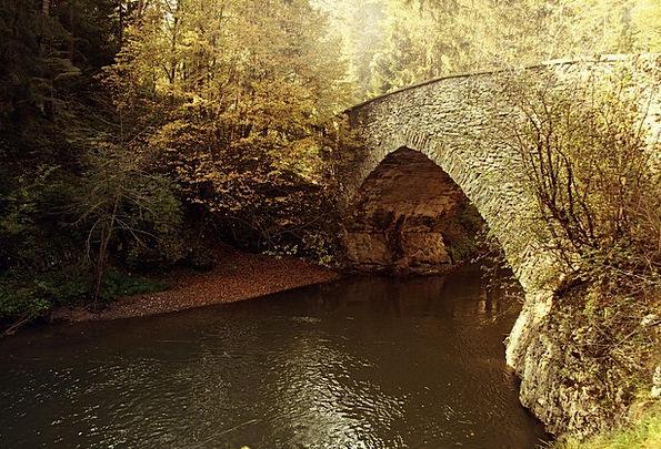 Bridge Bond Landscapes Nature Rivers Autumn Fall F