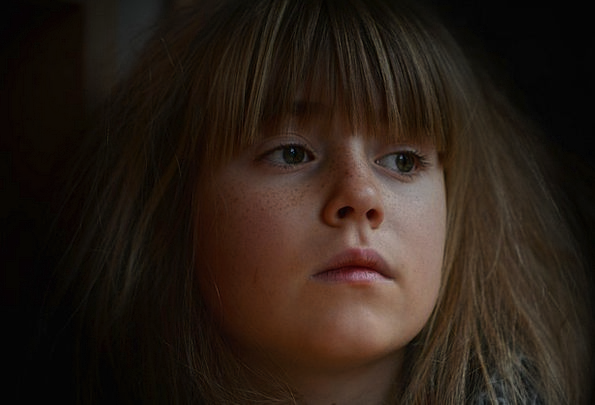 Child Youngster Lassie Face Expression Girl Dark D
