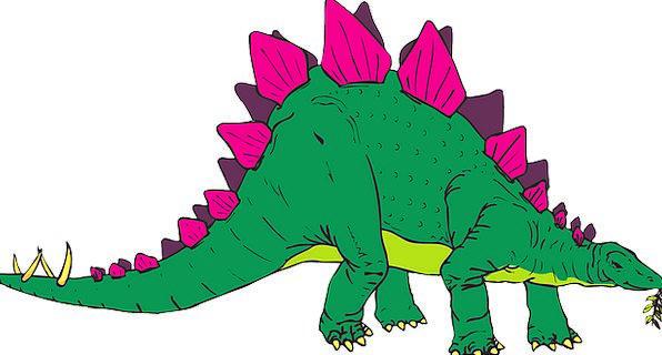 Green Lime Flushed Dinosaur Relic Pink Stegosaurus