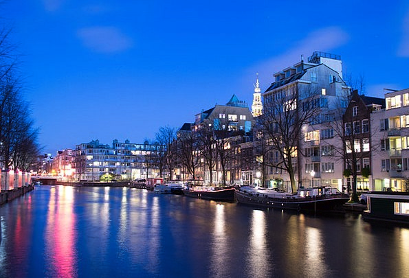 Amsterdam Waterway Evening Twilight Canal Blue Azu