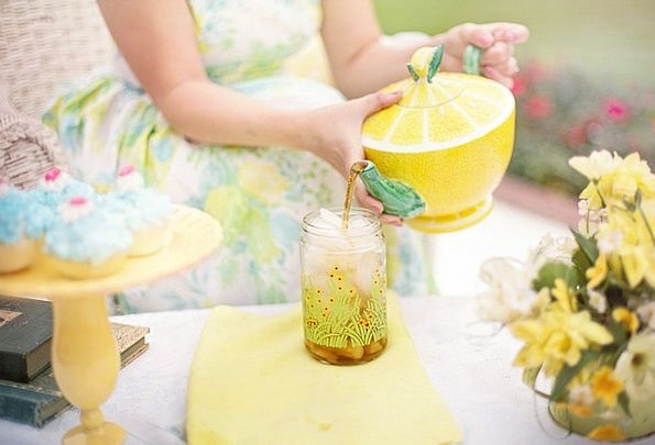 Tea Person Being Tea Time Summer Straw-hat Pouring