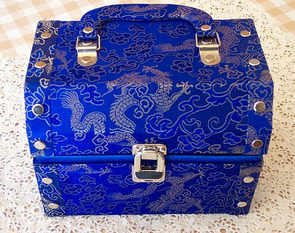Box Container Blue Azure Jewelery Chest Torso Trea