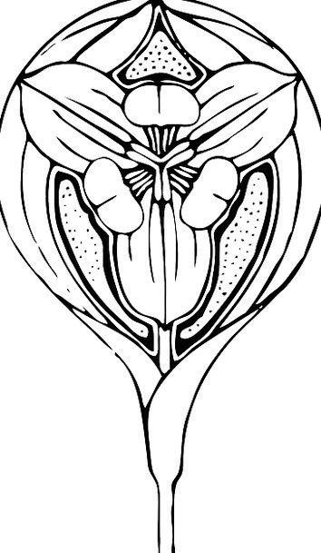 Tulip Floret Art Deco Flower Art Nouveau Flora Fre
