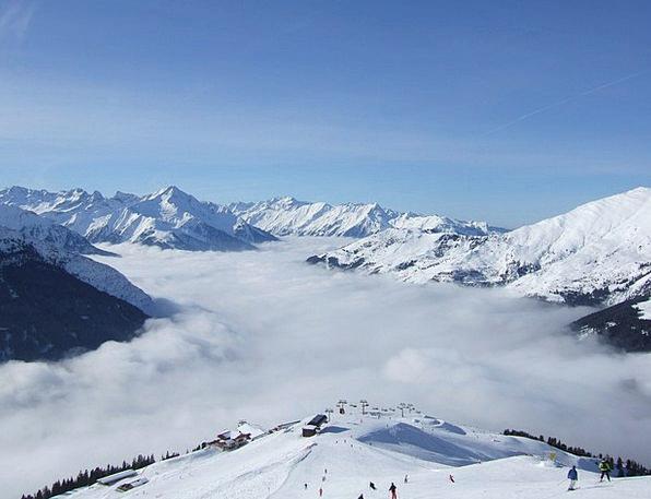 Austria Crags Clouds Vapors Mountains Sky Blue Alp
