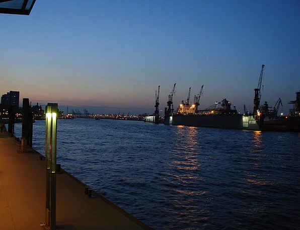 Hamburg Harbor Twilight Dusk Port Most Greatest Po
