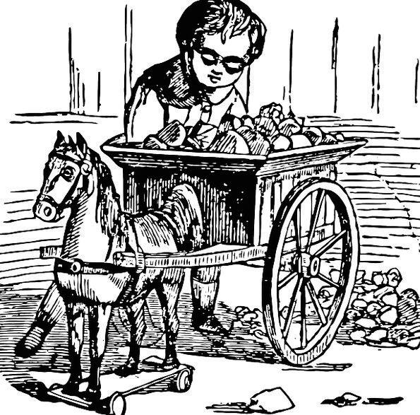 Boy Lad Slight Horse Cart Little Toy Doll Cart Chi