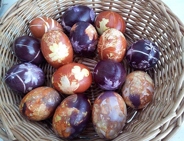 Easter Egg Ovum Easter Eggs Painted Tinted Basket