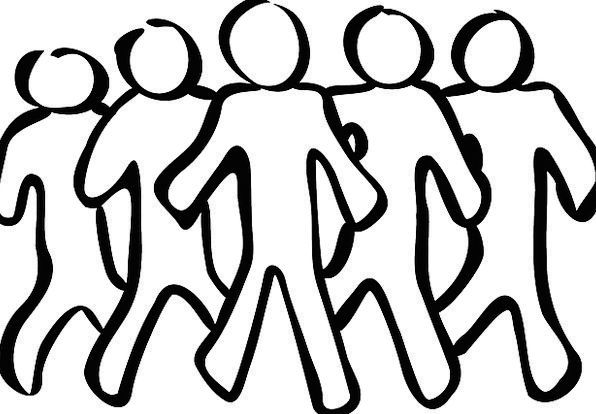 Team Side Public Teamwork Cooperation People Sketc