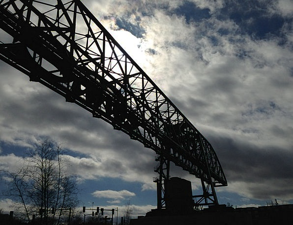 Crane Hoist Buildings Blue Architecture Silhouette