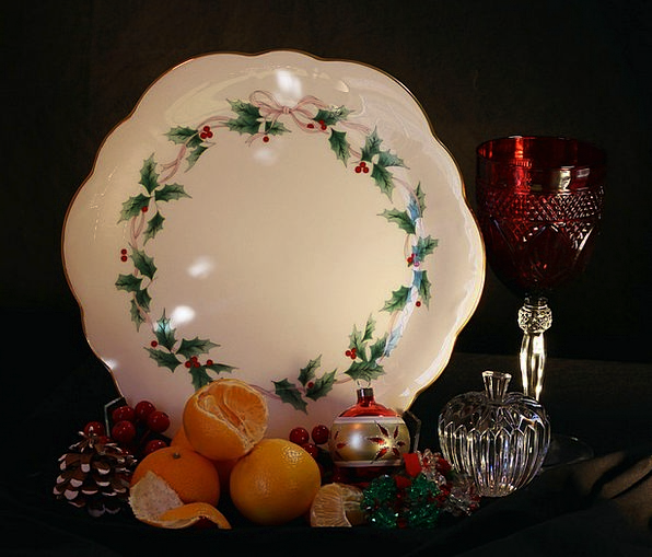 Christmas Still Life Tangerines Holiday Cake Plate