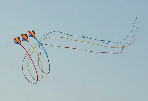 Wind Kite Air Midair Blue Sky Looping Winding Ribb