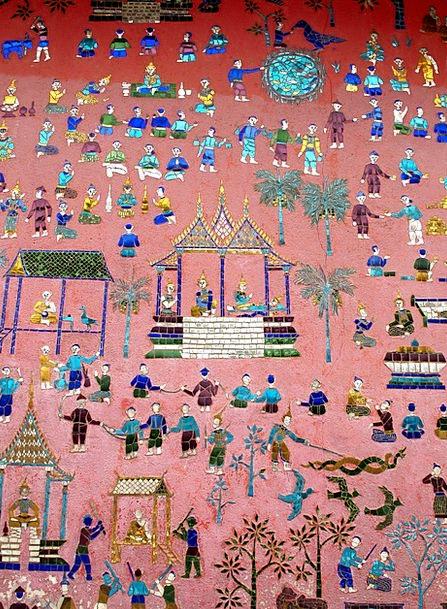 Wall Painting Fresco Laos Luang Prabang Phabang As