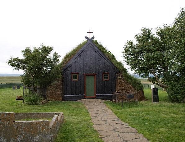 Iceland Church Ecclesiastical Turf Church Peat Mul