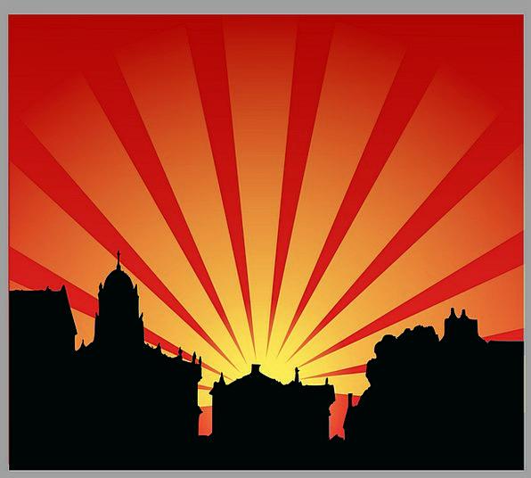 Sun Vacation Usual Travel Sunset Sundown Set City
