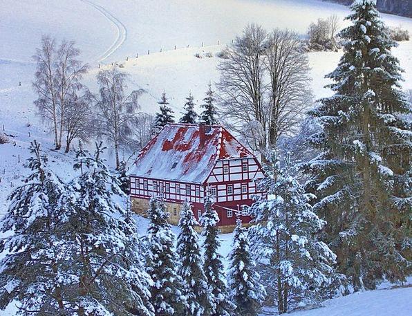 Heimatstube Landscapes Nature Winter Season Hut Of