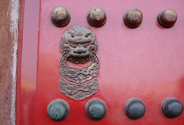 China Porcelain Entrance Lion Head Door Red Bloods