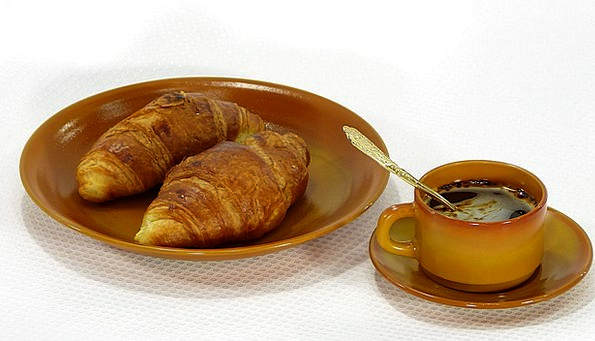 Croissants Bowl Cup Mug Plate Coffee Chocolate Bre