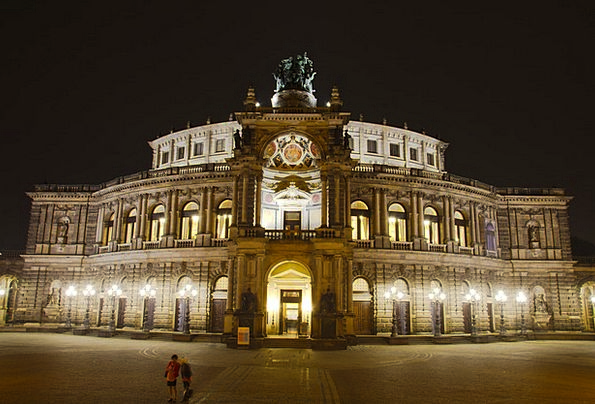 Semperoper Monuments Places Night Nightly Dresden