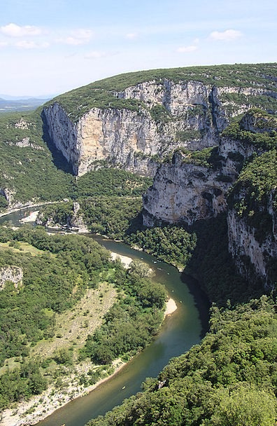 Ardèche Valley Mountains Crags Gorge River Stream