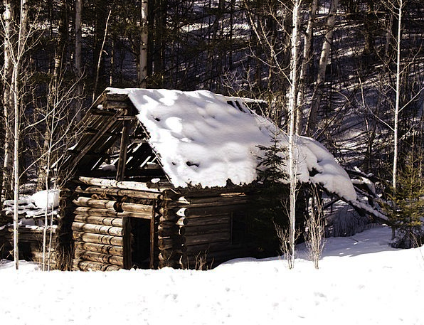 Old Log Cabin Landscapes Season Nature Snow Snowfl