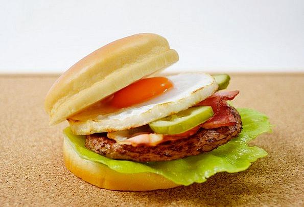 Bacon Drink Cooked Food Egg Ovum Fried Hamburger B