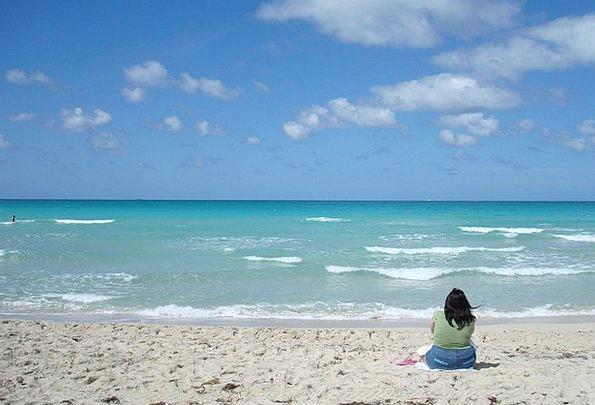 Beach Seashore Vacation Females Travel Thinking Ra