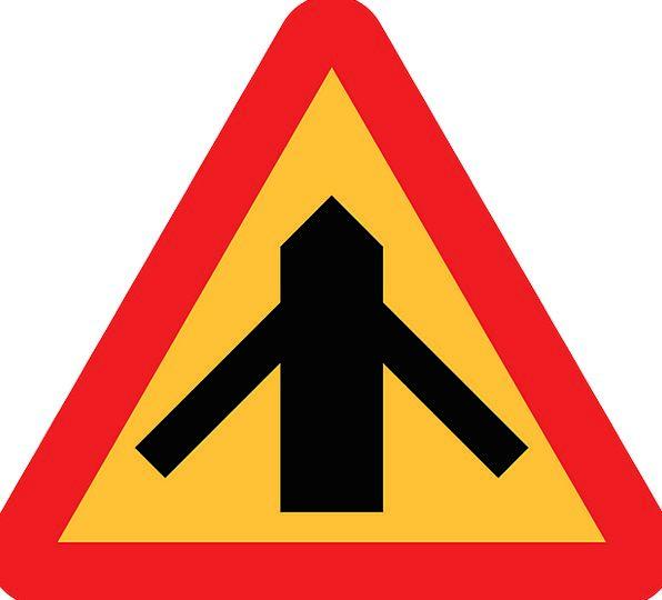 Traffic Merges Combine Roadsign Merge Road Sign Si