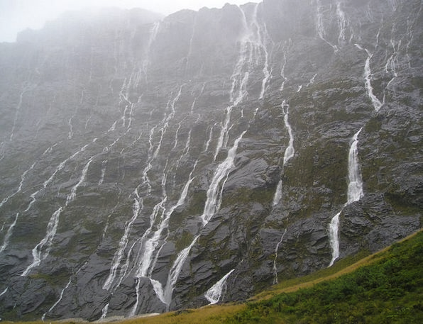 Waterfalls Cascades Fiordland New Zealand South Is