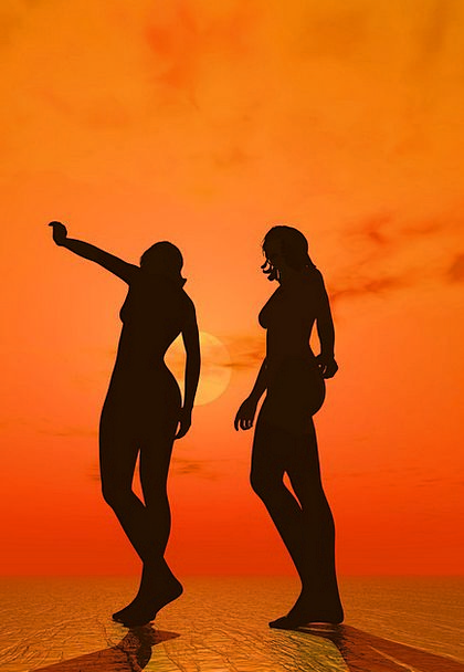 sunset Nude silhouette girl beach