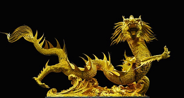 Golden Dragon Gold Gilded Broncefigur Thailand Asi