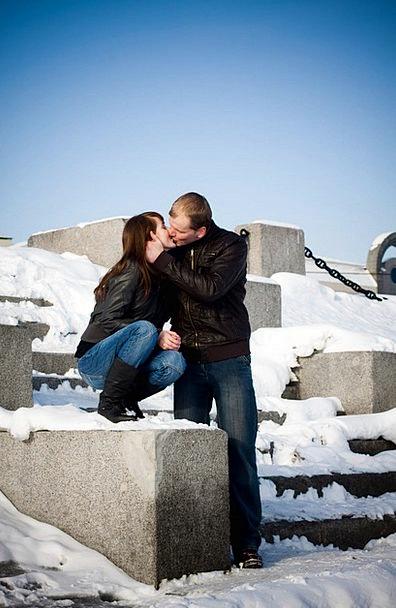 Kiss Caress Season February Winter Happiness Conte