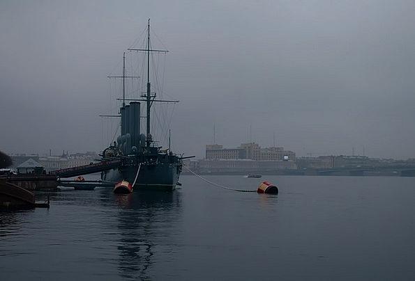 St Petersburg Russia Fog Mist Neva Twilight Dusk C