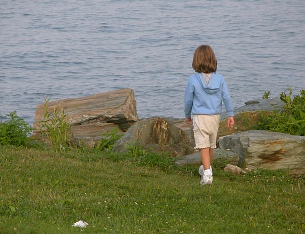 Child Youngster Lassie Ocean Marine Girl Happy Wal