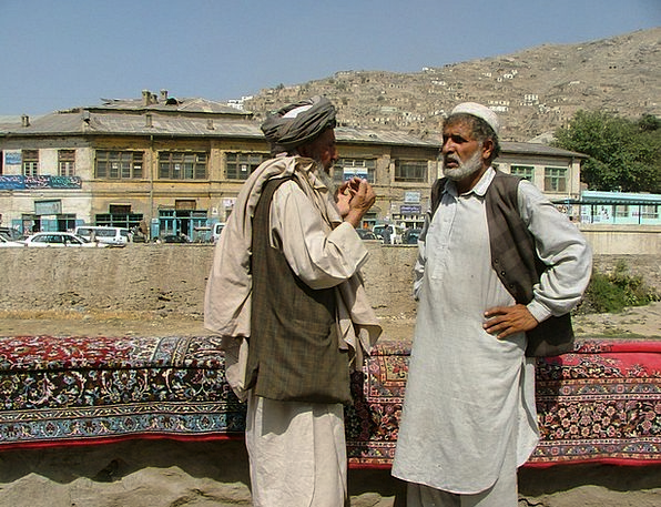 Carpet Salesman Men Menfolk Kabul Street Trading