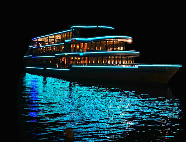 Ship Vessel Floodlit Night Ship Illuminated Lake N