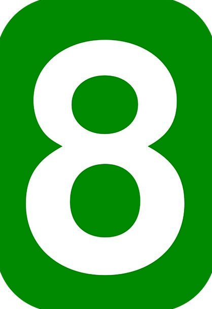 Number Amount Eight 8 Rounded Round Rectangle Gree