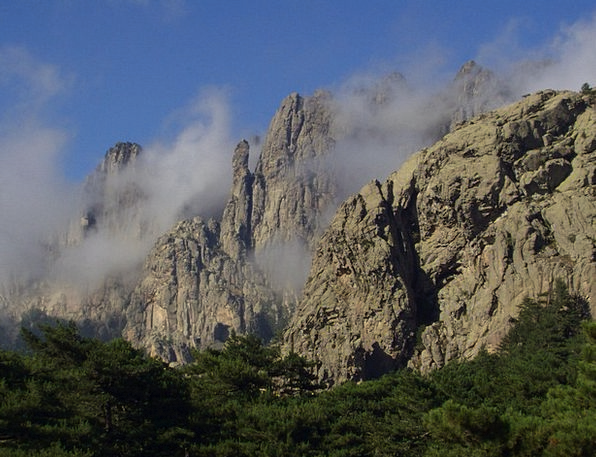 Corsica Crags Steep Sheer Mountains Steep Wall Hig