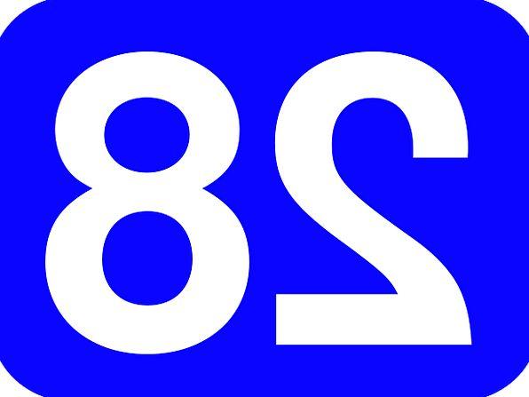 Number Amount Rounded Round 28 Rectangle Box Blue