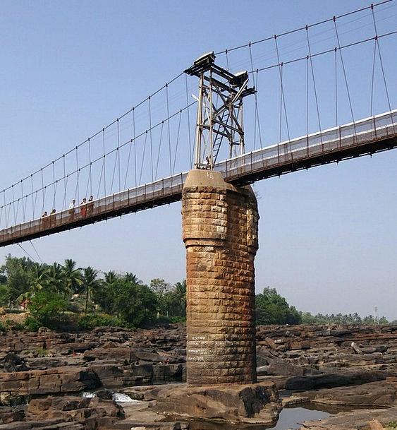 Suspension Bridge Viaduct Central Pillar Rope Brid