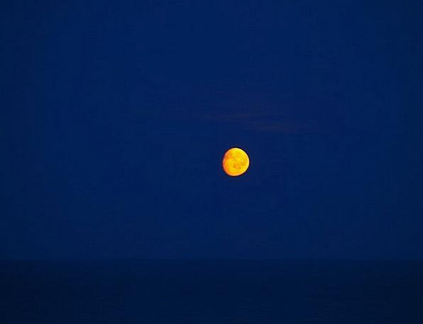 Moon Romanticize Marine Night Nightly Sea