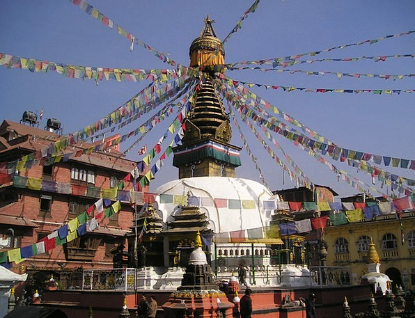 Nepal Holy Consecrated Stupa Prayer Flags Buddhism